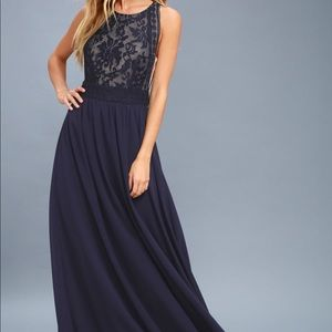 Lulus Forever and Always Navy Blue Lace Maxi Dress